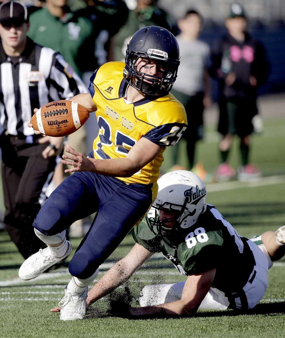 Shoreham-Wading River running back Chris Gray (25) breaks