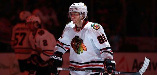 Patrick Kane #88 of the Chicago Blackhawks skates
