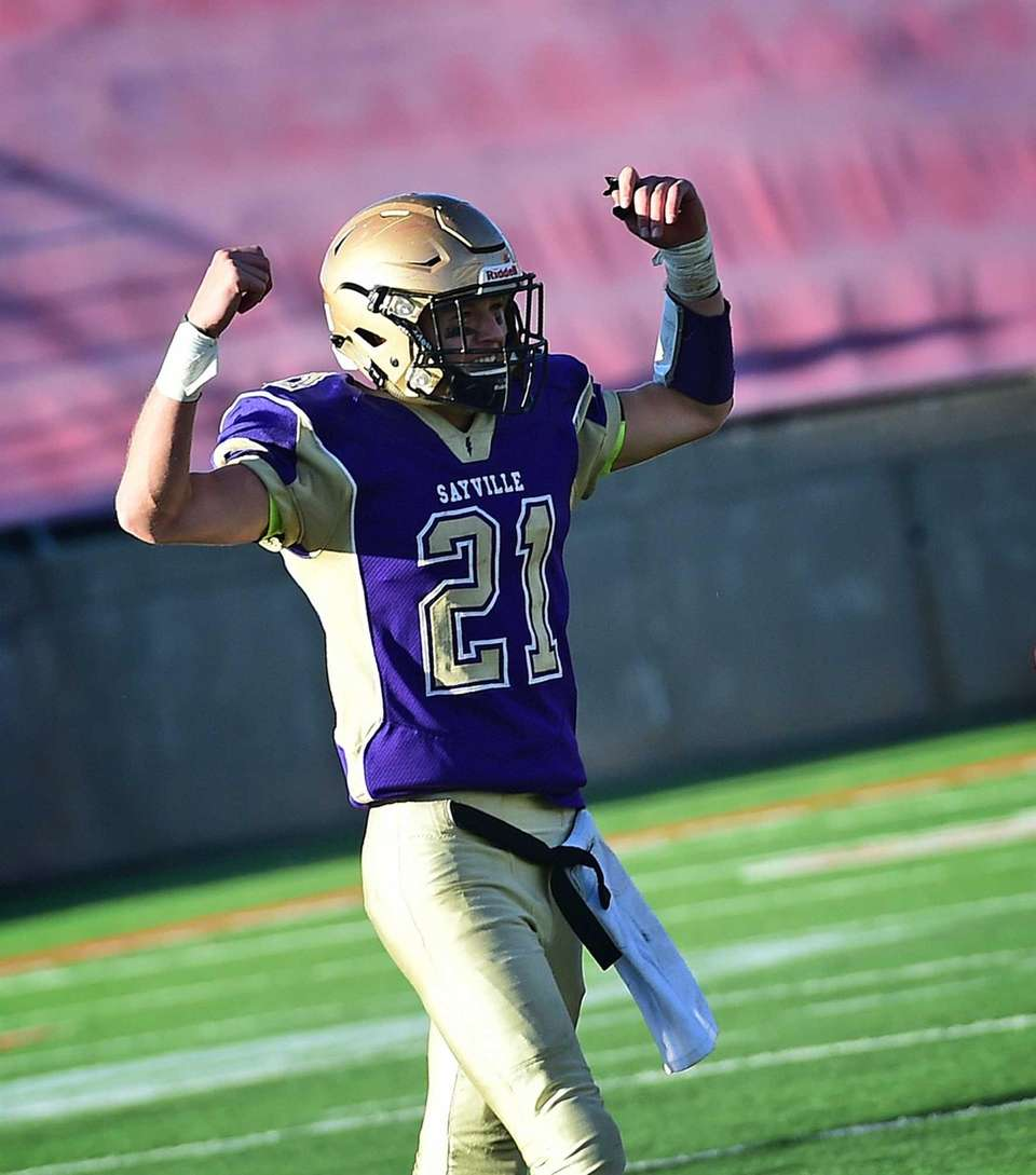Sayville's Ashton Bradley celebrates after the Long Island