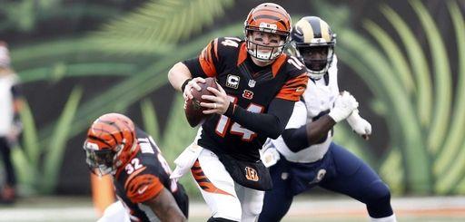 Cincinnati Bengals quarterback Andy Dalton (14) runs the