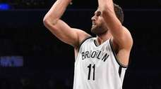 Brooklyn Nets center Brook Lopez misses his shot