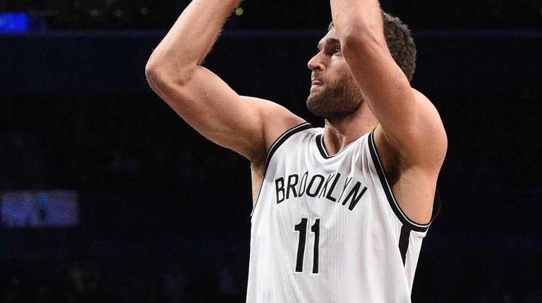 Brooklyn Nets center Brook Lopez misses his shot