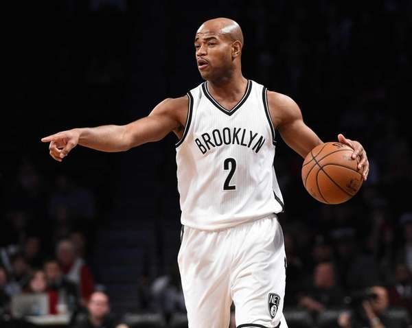 Brooklyn Nets guard Jarrett Jack directs his teammates