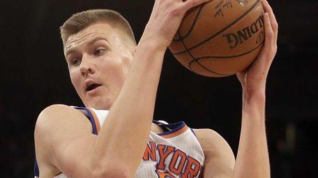 New York Knicks forward Kristaps Porzingis (6) comes