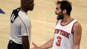 New York Knicks guard Jose Calderon (3) argues