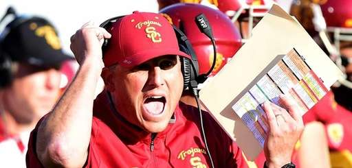 USC head coach Clay Helton reacts on the