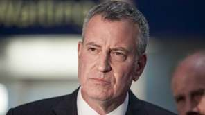 Mayor Bill de Blasio appears at Penn Station