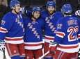 The New York Rangers celebrate a popwer-play goal
