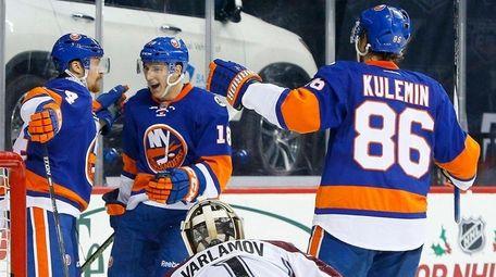 Mikhail Grabovski of the Islanders celebrates his second-period