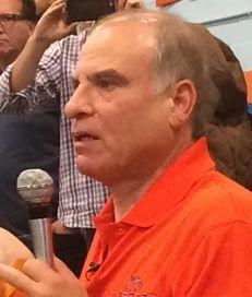 Benjamin Cardozo boys basketball coach Ron Naclerio addresses