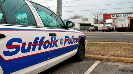 A police cruiser in Bay Shore, on Tuesday,