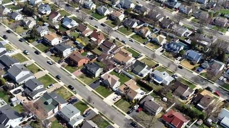 An aerial view of Levittown on April 18,
