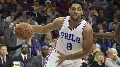 Jahlil Okafor of the Philadelphia 76ers dribbles the