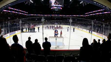 A general view during the national anthem before
