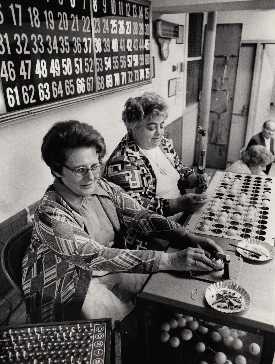 Bingo callers Marge Scott of Jericho and Agnes