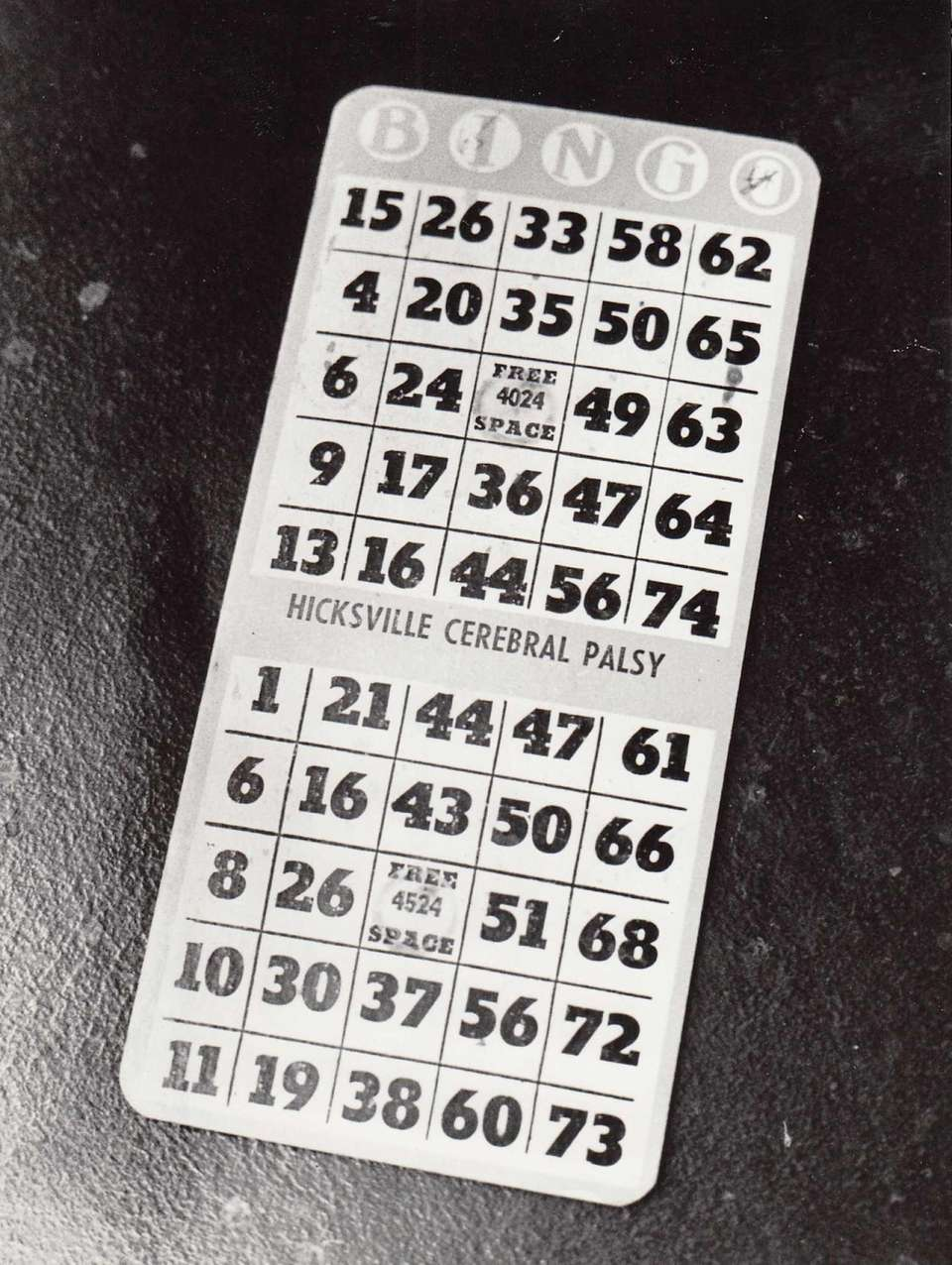 Bingo card from the Lion's Den Bingo Hall