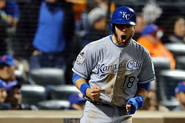 Ben Zobrist of the Kansas City Royals celebrates