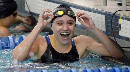 Long Beach's Maggie Aroesty after winning the 100-yard