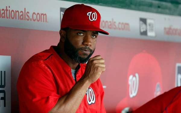 Washington Nationals center fielder Denard Span (2) sits