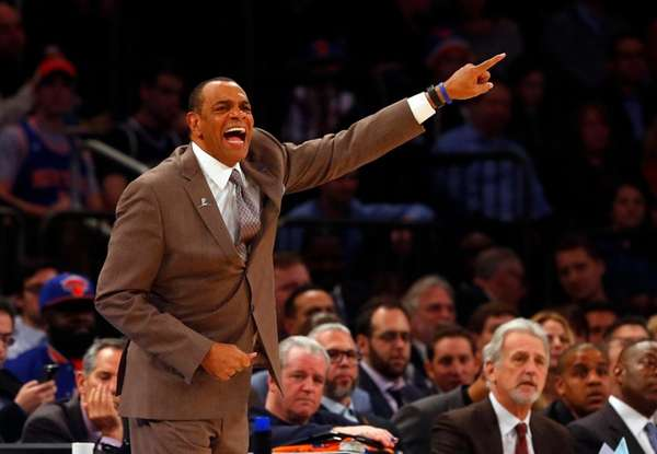 Lionel Hollins of the Brooklyn Nets reacts during