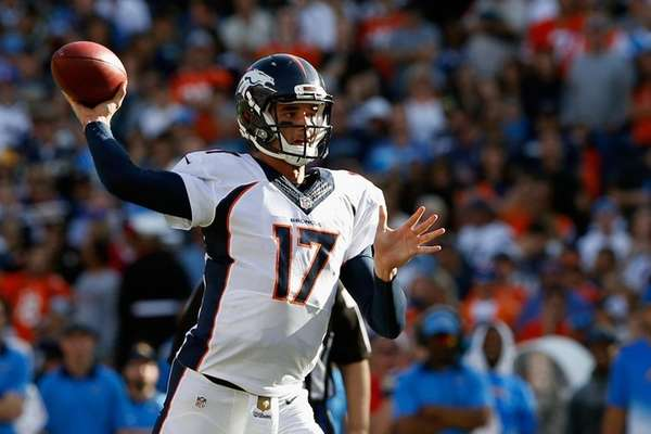 Brock Osweiler of the Denver Broncos passes the