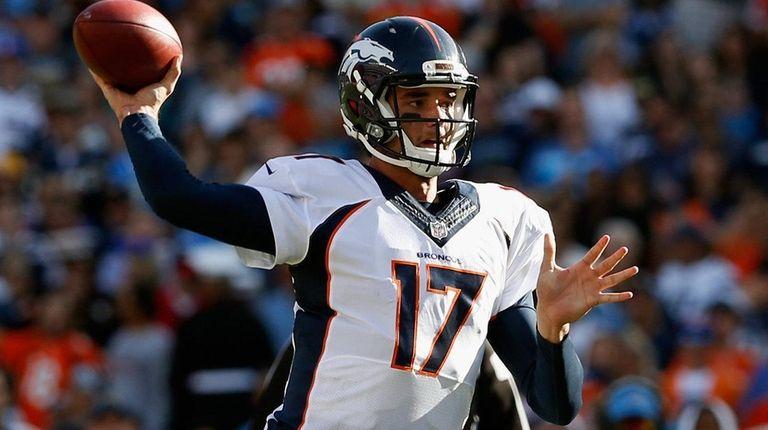 Brock Osweiler of the Denver Broncos passes the