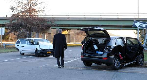 Police investigate the scene where a Flanders woman