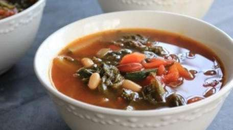 Beans and vegetables simmer together to make a