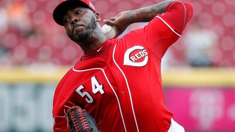 Cincinnati Reds relief pitcher Aroldis Chapman delivers a