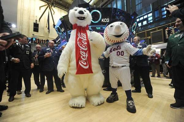 The Coca-Cola Polar Bear and Mr. Met pose