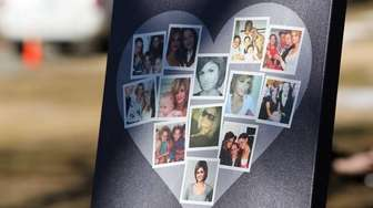 A heart-shaped collage with photographs of Shannan Gilbert