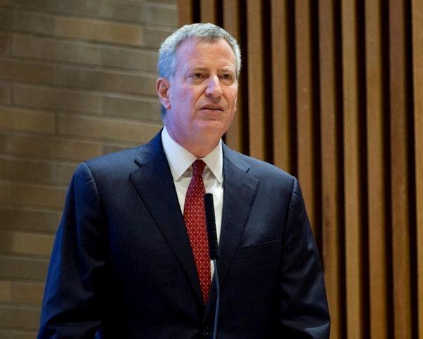 Mayor Bill de Blasio speaks during an All-In