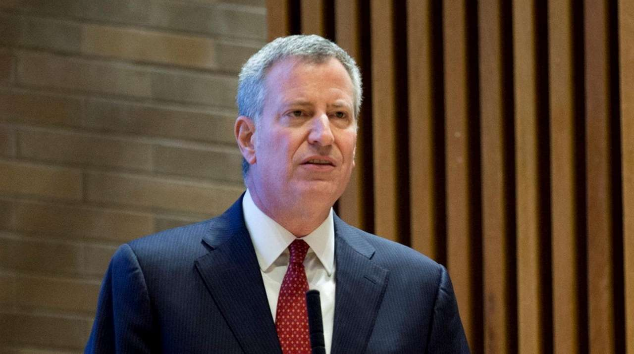 Mayor Bill de Blasio speaks during an All-In