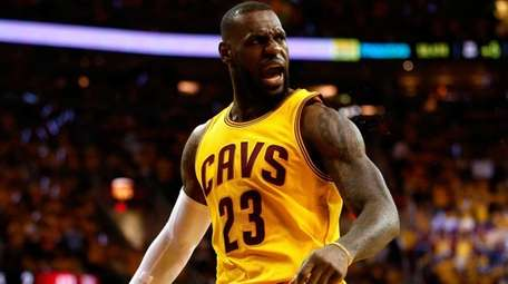 LeBron James of the Cleveland Cavaliers reacts