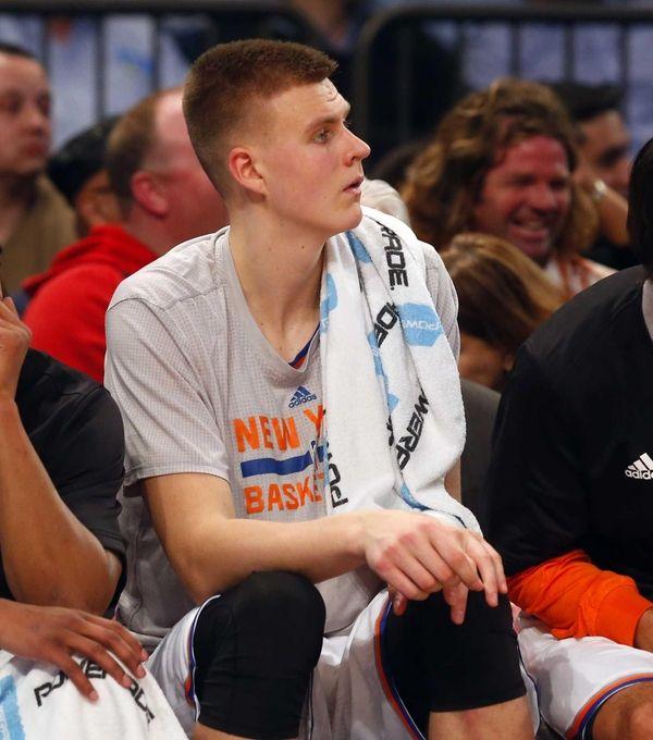 Kristaps Porzingis of the New York Knicks looks