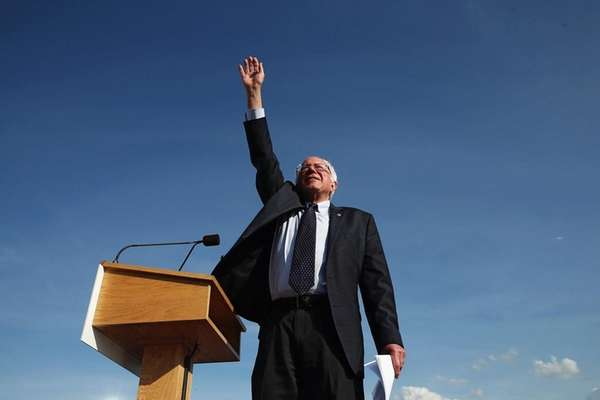 Democratic presidential candidate Sen. Bernie Sanders greets supporters