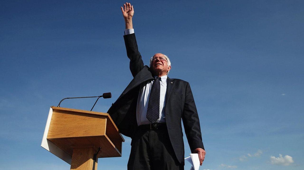 Democratic presidential candidate Sen. Bernie Sanders greets supporters