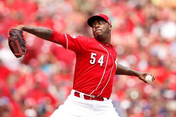 Aroldis Chapman of the Cincinnati Reds pitches