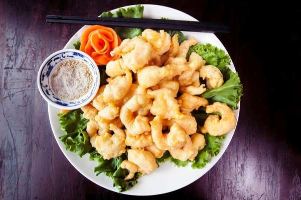 Fried baby shrimp with salt and pepper at