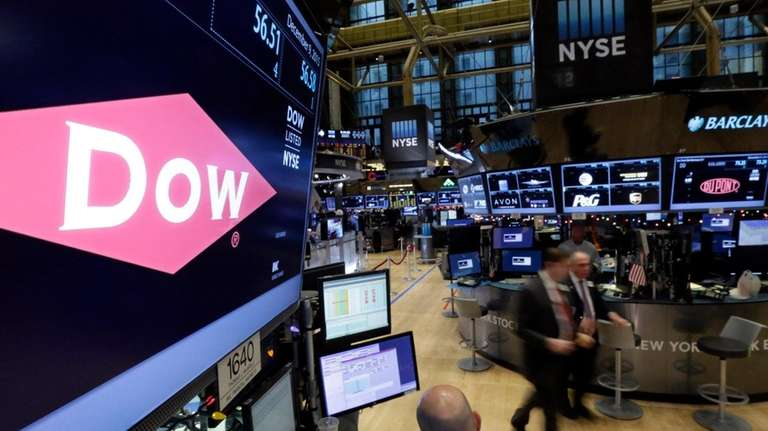 The company names of Dow, left, and Dupont,