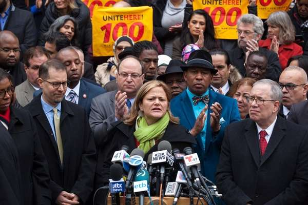 New York City Council Speaker Melissa Mark-Viverito, center,