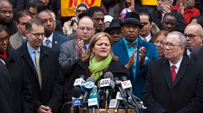 New York City Council Speaker Melissa Mark-Viverito, center,