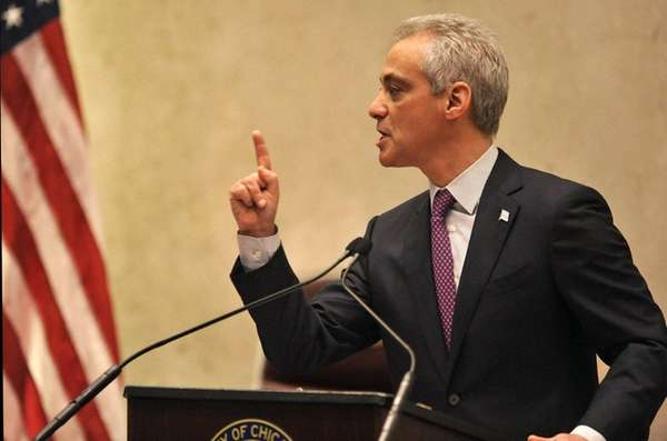 Chicago Mayor Rahm Emanuel speaks during a special