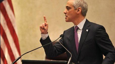 Chicago Mayor Rahm Emanuel speaks during a special