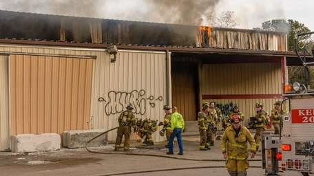 Firefighters respond to a blaze that broke out