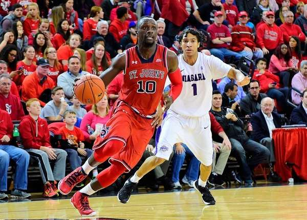St. John's guard Felix Balamou (10) is