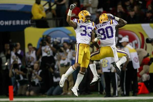 LSU wide receivers Odell Beckham (33) and