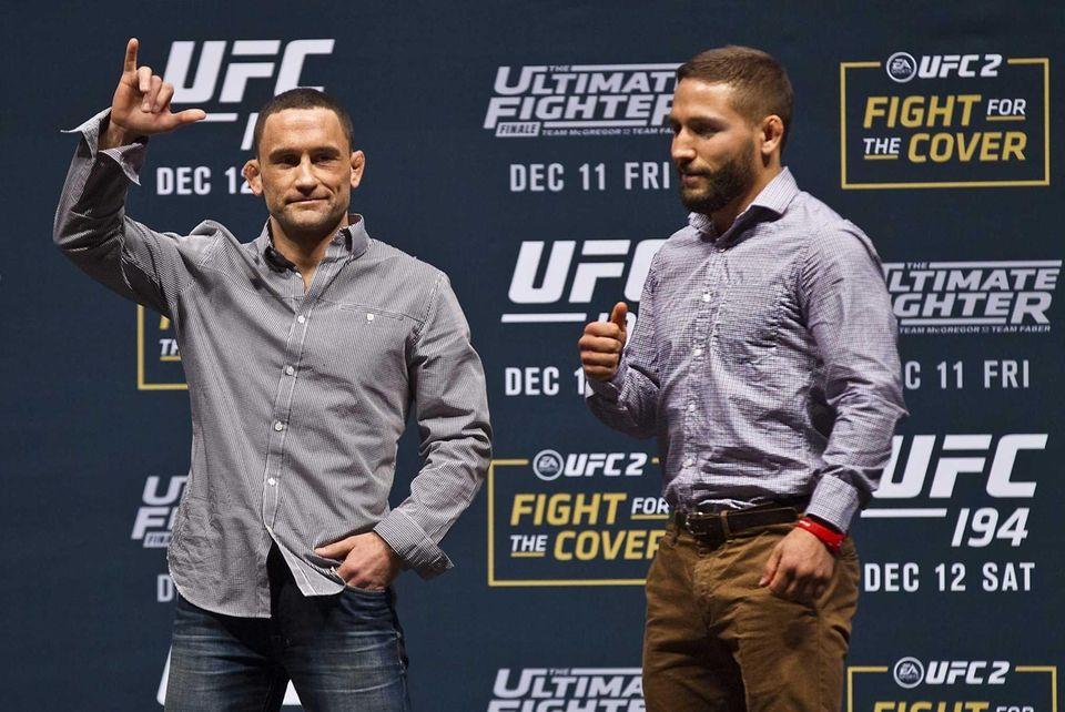 UFC featherweight fighter Frankie Edgar, left, and opponent