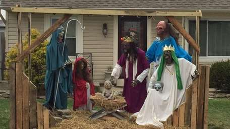 A zombie nativity scene is pictured in