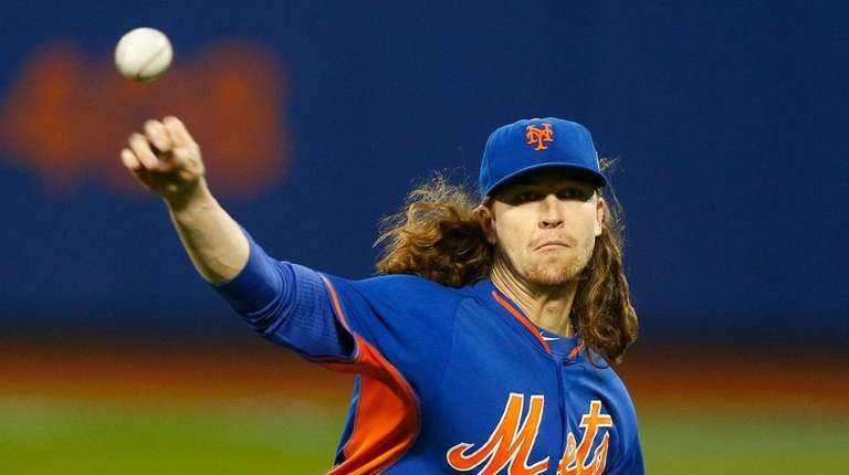 Jacob deGrom during warmups before Game 5 of